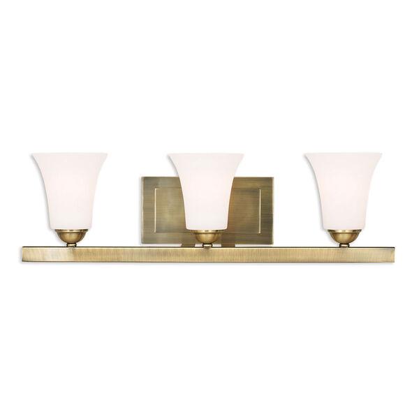 Ridgedale Antique Brass 25-Inch Three-Light Bath Vanity, image 1