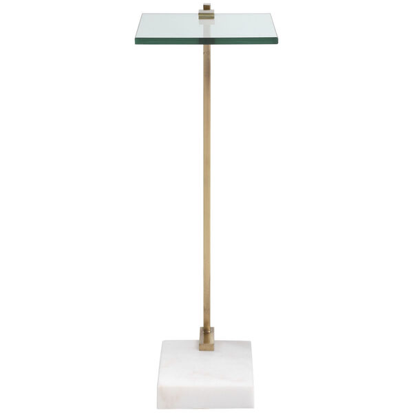 Butler Brushed Brass and White Accent Table, image 5
