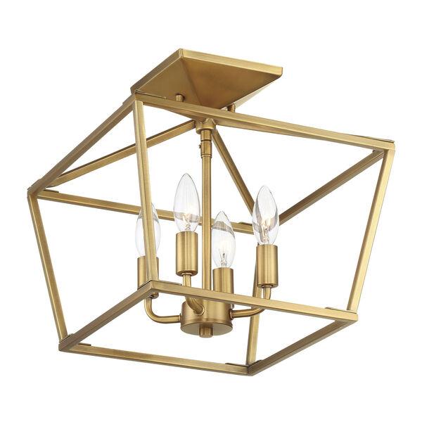 Townsend Warm Brass Four-Light Semi-Flush, image 3