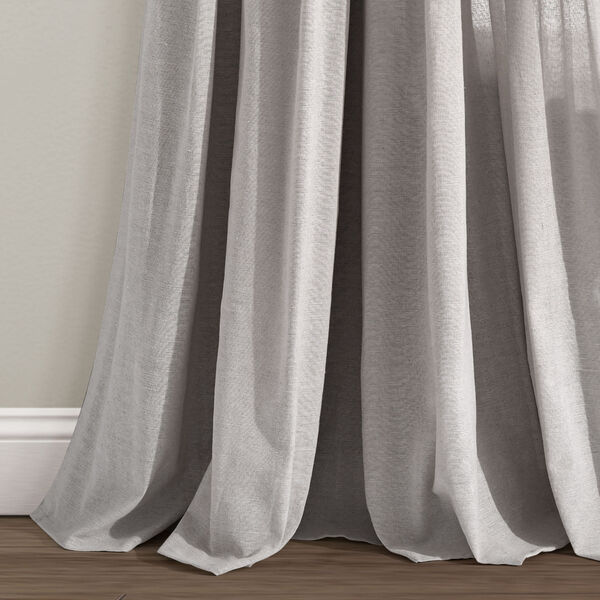 Linen Button Gray 40 x 84 In. Single Window Curtain Panel, image 4