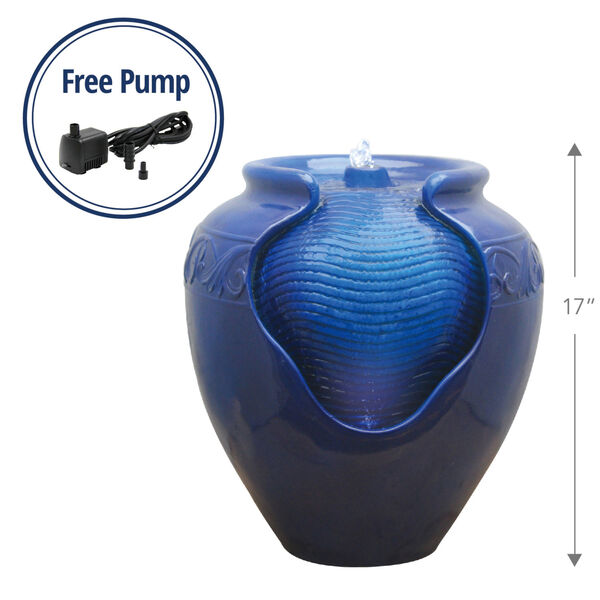 Royal Blue Outdoor Glazed Pot Floor Fountain, image 2