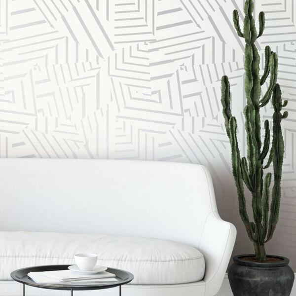 Bobby Berk White and Metallic Silver Dazzle Peel and Stick Wallpaper, image 1