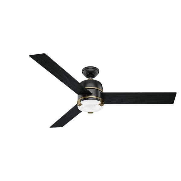 Bureau Matte Black and Modern Brass 60-Inch One-Light LED Adjustable Ceiling Fan, image 1