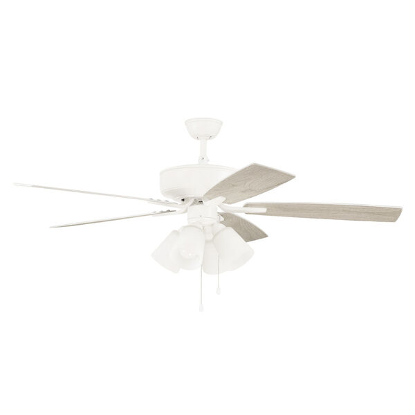 Pro Plus White 52-Inch Four-Light Ceiling Fan with White Frost Bell Shade, image 4