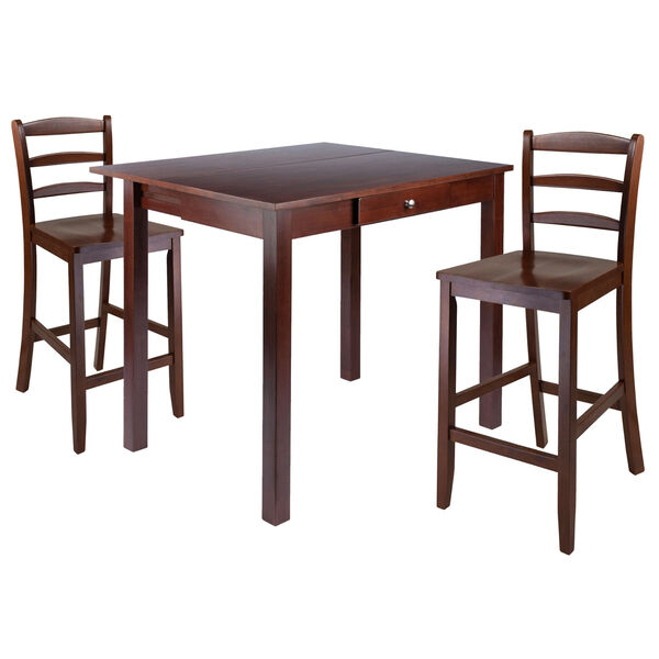 Perrone Walnut Three-Piece Dining Table Set, image 1