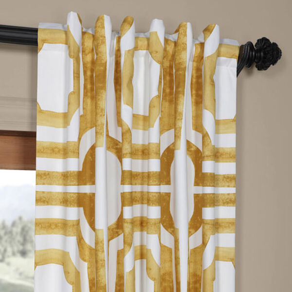 Yellow Gold 84 x 50 In. Printed Cotton Twill Curtain Single Panel, image 4