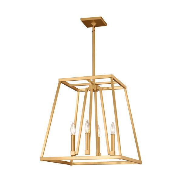 Conant Gilded Satin Brass 18-Inch Four-Light Pendant, image 1