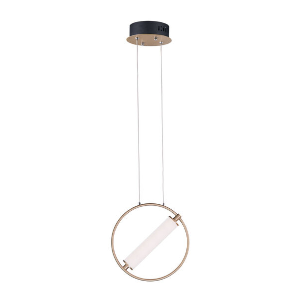 Flare Black and Soft Gold 6-Inch One-Light LED Mini Pendant With Clear and Frosted Glass, image 1