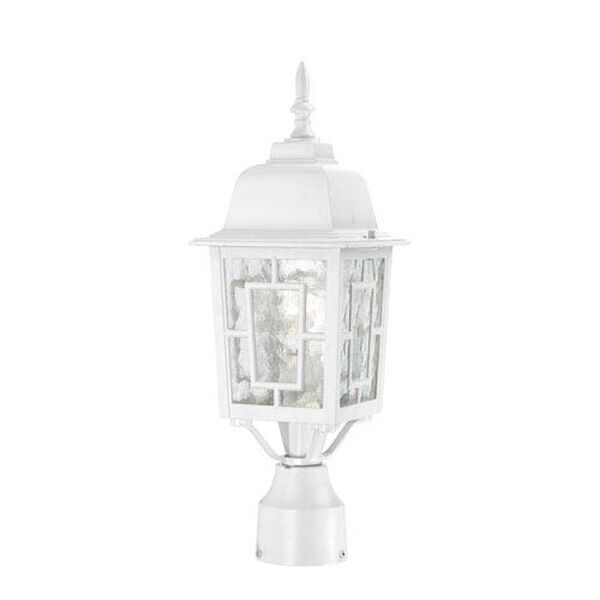 Banyon White Finish One Light Outdoor Post Mount with Clear Water Glass, image 1