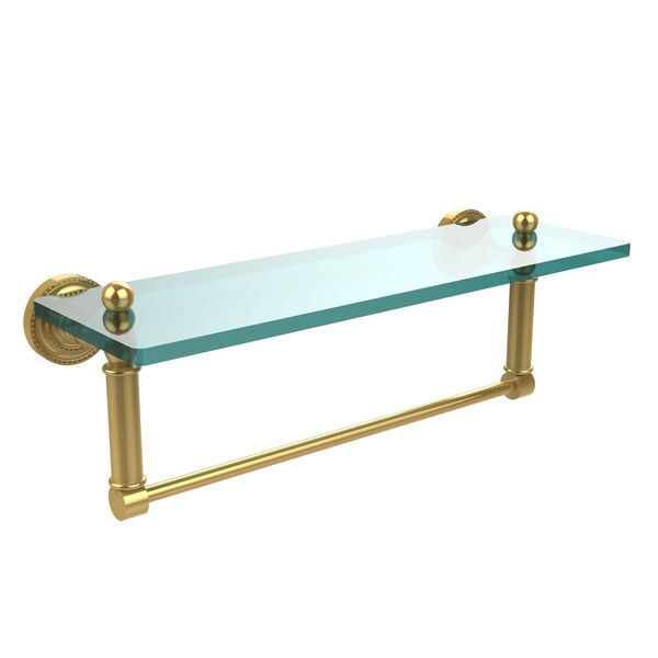 Polished Brass Single Shelf with Towel Bar, image 1
