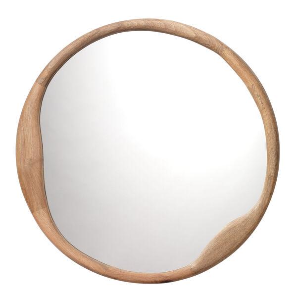 Organic Natural Wood Round Mirror, image 1