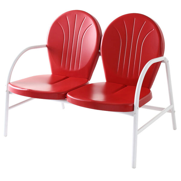 Griffith Metal Loveseat in Red Finish, image 1