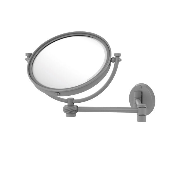 Matte Gray Eight-Inch Wall Mounted Extending Make-Up Mirror 4X Magnification with Twist Accent, image 1