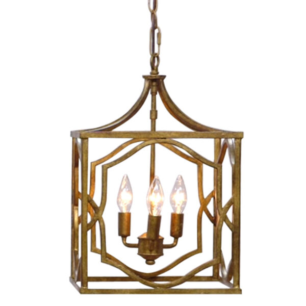 Blakely Antique Gold Three Light Foyer- Antique Gold, image 2