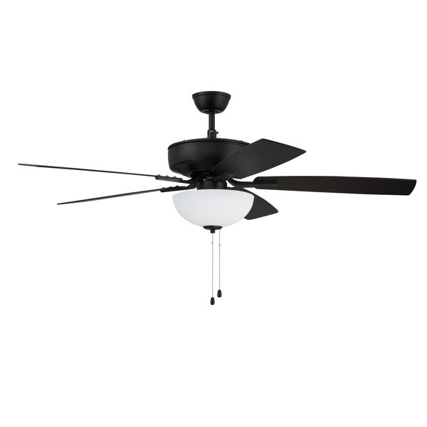 Pro Plus Flat Black 52-Inch Two-Light Ceiling Fan with White Frost Bowl Shade, image 1