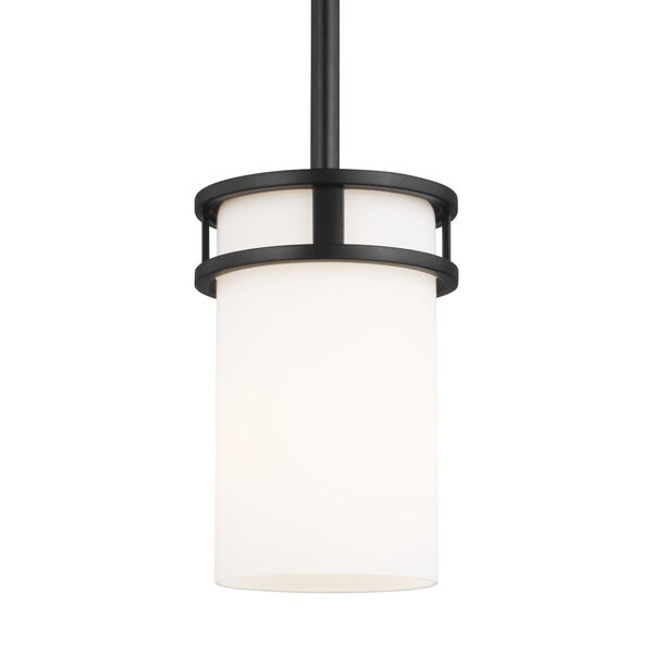 Robie Midnight Black One-Light Mini Pendant with Etched White Inside Shade Energy Star, image 2