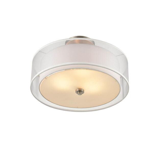 Madison Brushed Nickel 18-Inch Three-Light Semi Flushmount, image 2