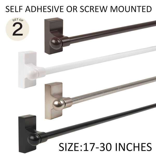 Cocoa 17-30 Inch Self-Adhesive Wall Mounted Rod, Set of 2, image 1