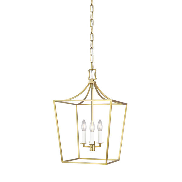 Southold Burnished Brass 14-Inch Three-Light Chandelier, image 1