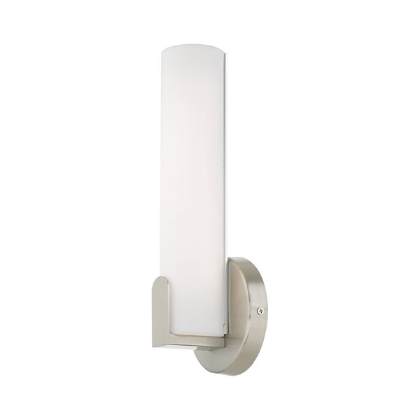 Lund Brushed Nickel 4-Inch ADA Wall Sconce with Satin White Acrylic Shade, image 5