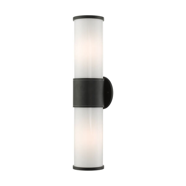 Landsdale Textured Black Two-Light Outdoor Wall Lantern, image 4