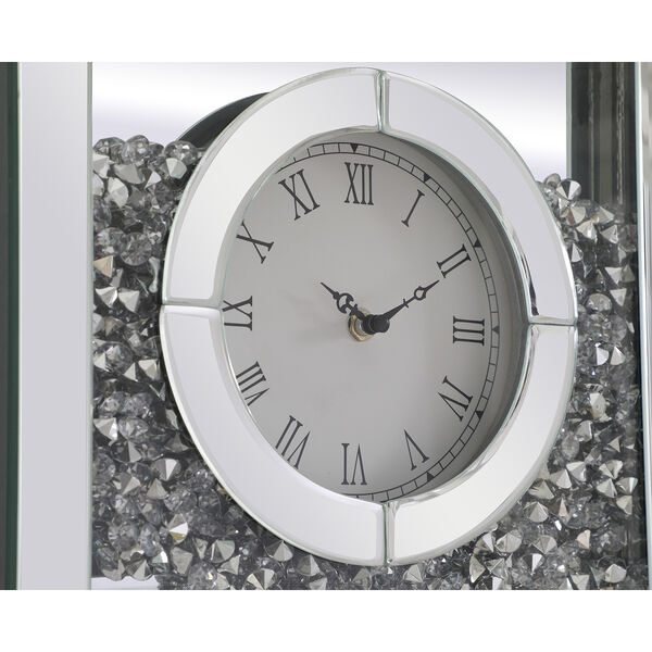 Modern Mirrored 35-Inch Crystal Wall Clock, image 5