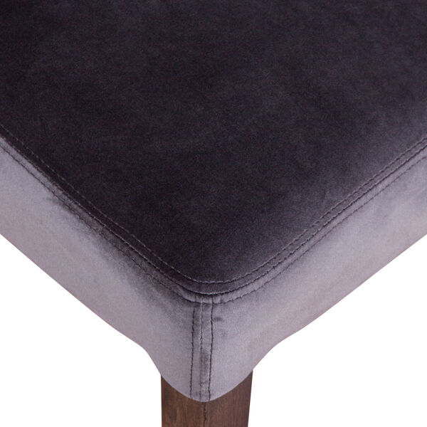 Portia Asphalt Gray and Weathered Teak Velvet Side Chair, Set of 2, image 6