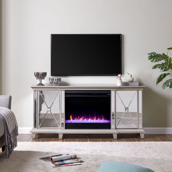 Toppington Mirror and silver Mirrored Electric Fireplace with Media Console, image 1