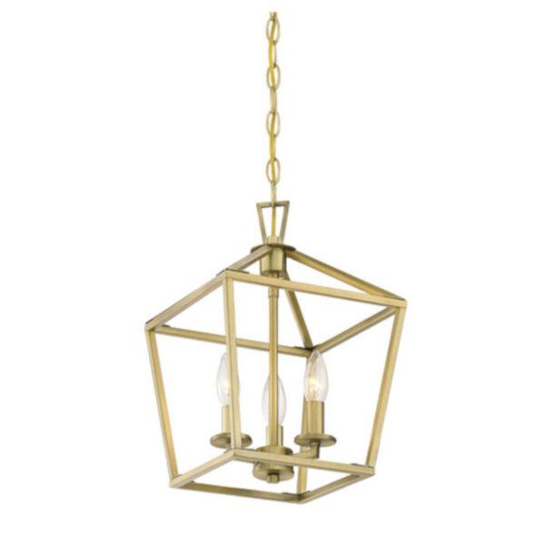 Anna Polished Brass 10-Inch Three-Light Pendant, image 4