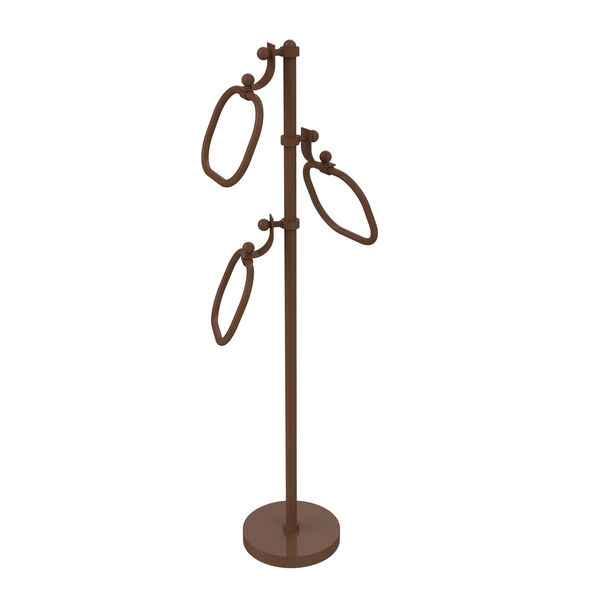 Antique Bronze Nine-Inch Towel Stand with Oval Towel Rings, image 1