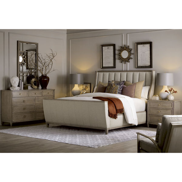 Cityscapes King Chelsea Upholstered Shelter Sleigh Bed, image 2