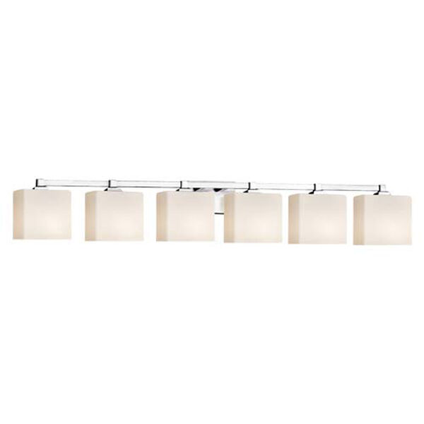 Fusion - Regency Polished Chrome Six-Light LED Bath Bar with Rectangle Opal Shade, image 1