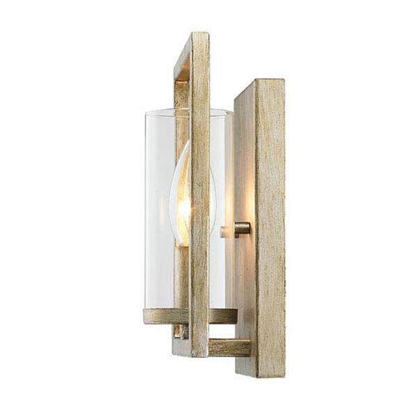Marco White Gold One-Light Wall Sconce with Clear Glass Shade, image 2