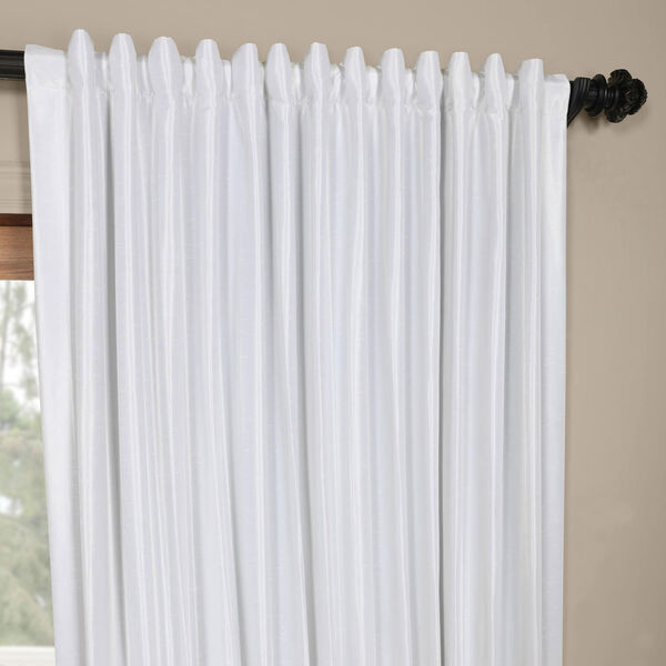 White Ice 96 x 100 In. Double Wide Vintage Textured Faux Dupioni Curtain Single Panel, image 4