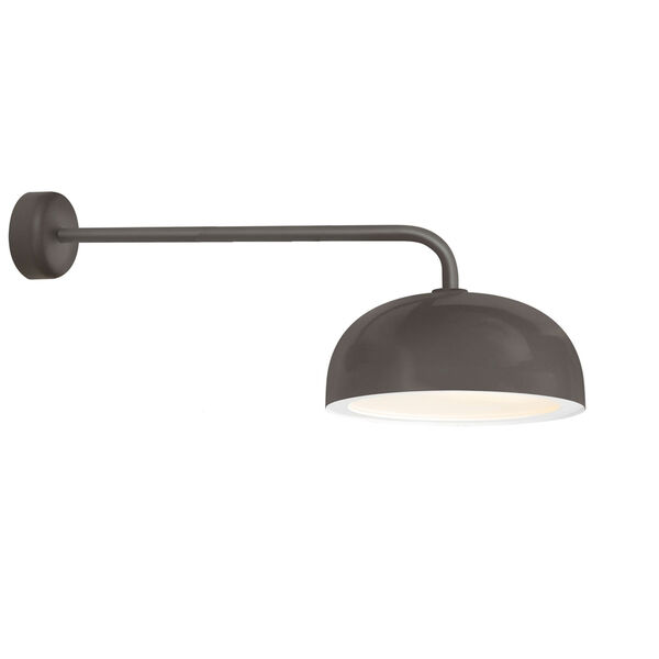 Dome Textured Bronze One-Light 16-Inch Outdoor Wall Sconce with 30-Inch Arm, image 1