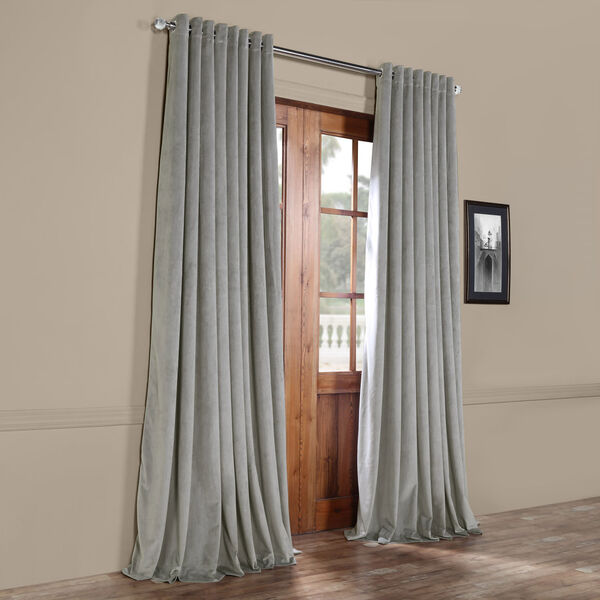 Silver Grey 96 x 100 In. Double Wide Grommet Blackout Velvet Curtain Single Panel, image 6