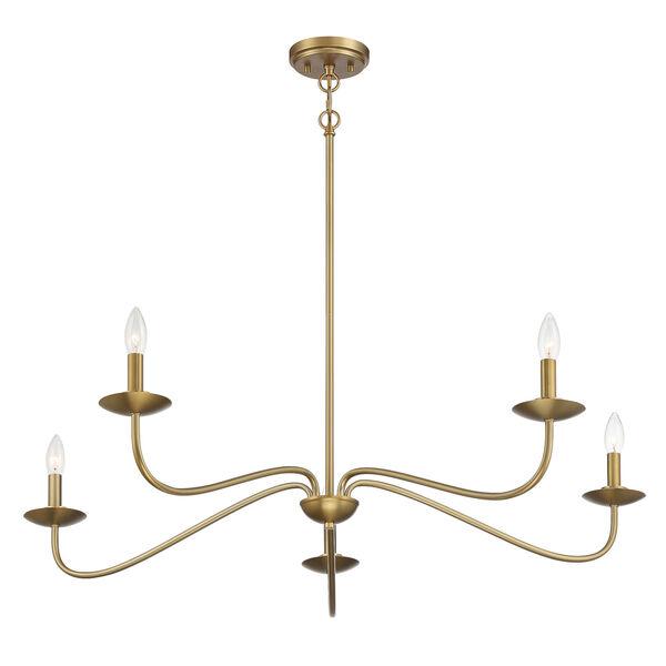 Anna Natural Brass Five-Light Chandelier, image 4