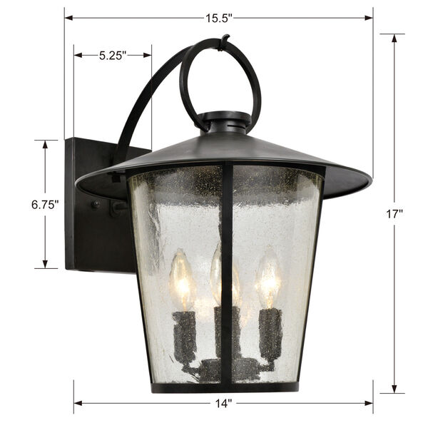 Andover Matte Black Four-Light Outdoor Wall Mount, image 3