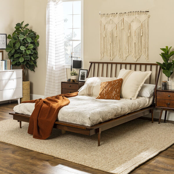 Queen Walnut Spindle Bed, image 3