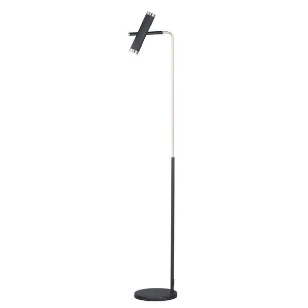 Ambit Black and Satin Nickel Two-Light LED Floor Lamp, image 1