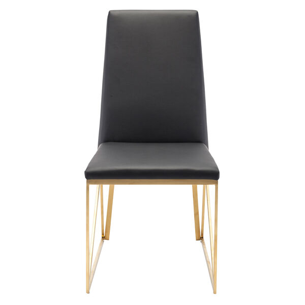 Caprice Black and Brushed Gold Dining Chair, image 5