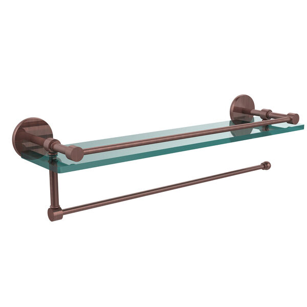 Prestige Skyline Collection Paper Towel Holder with 16 Inch Gallery Glass Shelf, Antique Copper, image 1