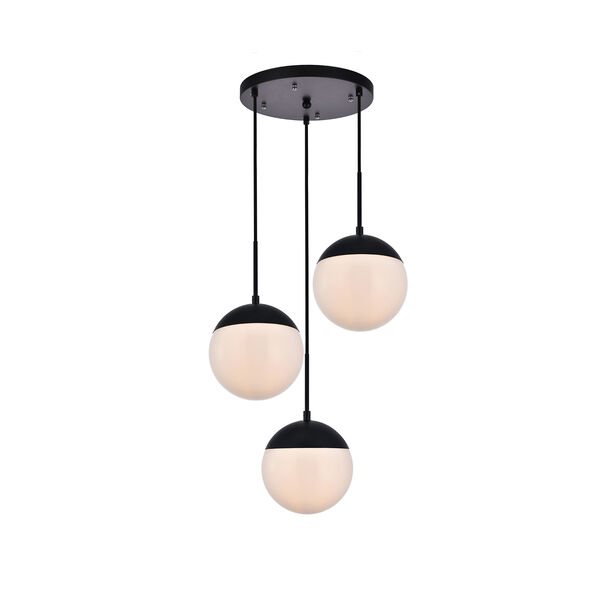 Eclipse Black and Frosted White 18-Inch Three-Light Pendant, image 1