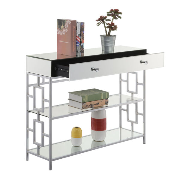 Town Square Mirror, Glass and Chrome Single Drawer Mirrored Console Table, image 4