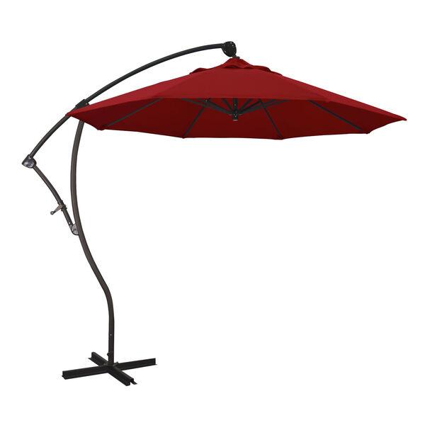 Bayside Bronze with Jockey Red Nine-Feet Sunbrella Patio Umbrella, image 1
