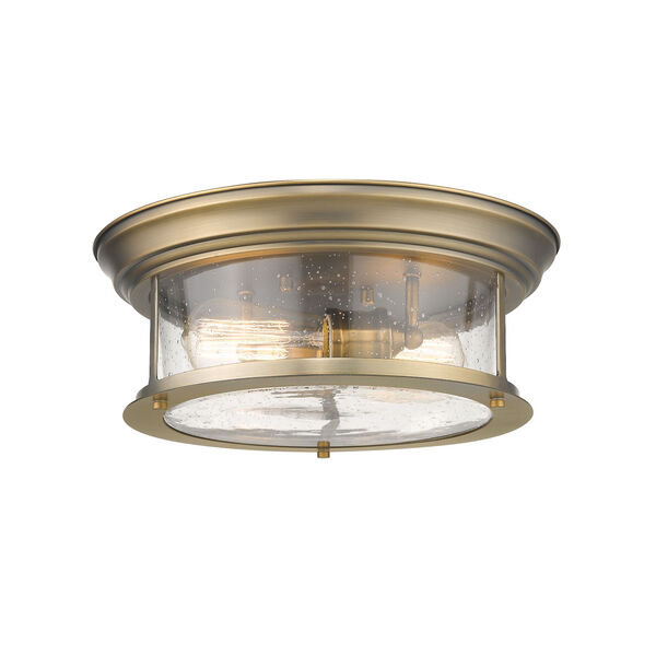 Sonna Heritage Brass Two-Light Flush Mount with Transparent Seedy Glass, image 1