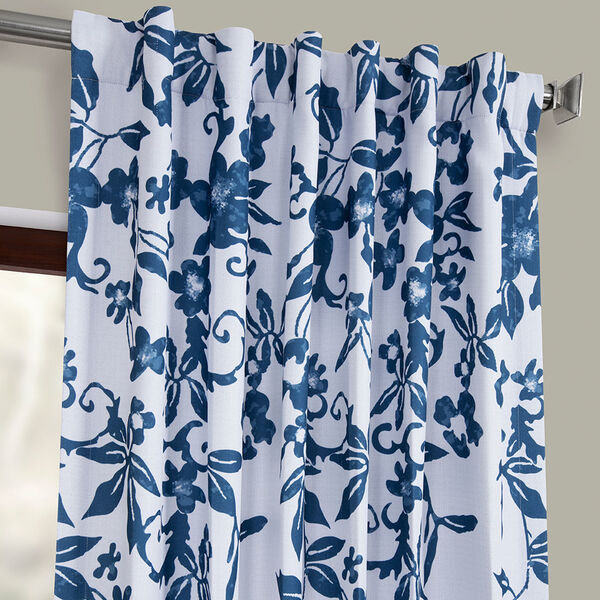 Blue Printed 108 x 50-Inch Polyester Blackout Curtain Single Panel, image 4