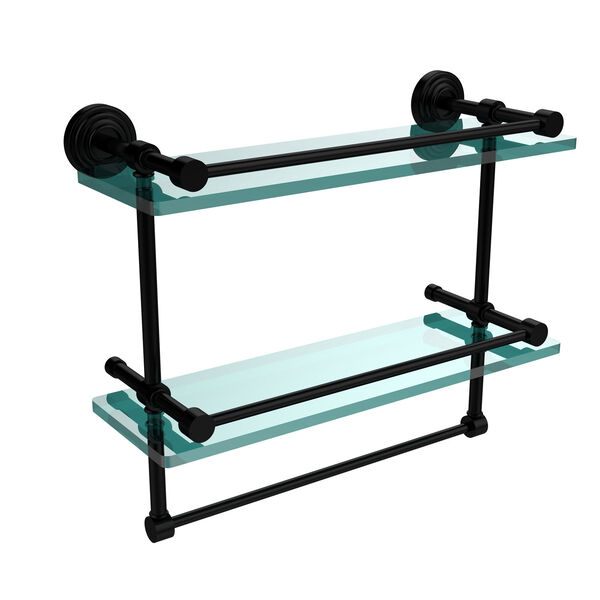 16 Inch Gallery Double Glass Shelf with Towel Bar, Matte Black, image 1