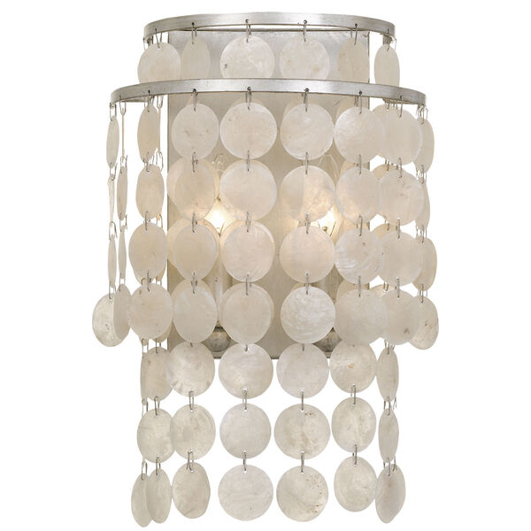 Brielle Two-Light Antique Silver Wall Sconce, image 1