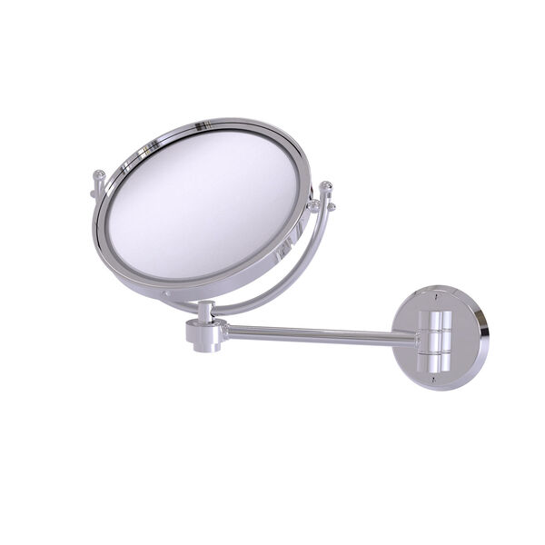 Polished Chrome Eight-Inch Wall Mounted Make-Up Mirror 3X Magnification, image 1